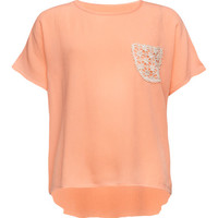Full Tilt Crochet Back Girls Pocket Peasant Top Peach  In Sizes