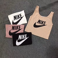 """Nike""Fashion Casual Classic  Letter Print Round Neck Sleeveless Vest T-shirt Crop Tops"