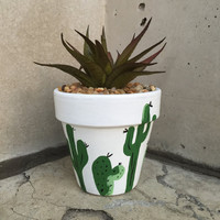 Terra Cotta Succulent Planter. Hand-Painted Cactus Design. Hanging Plant Holder. Desk Décor.