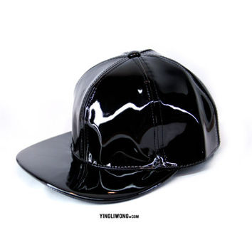 Black Dark Leather Shinny Charol Cap Hat Snapback Gorra