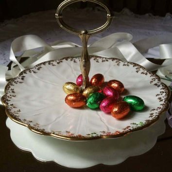 Noritake vintage cake stand/ china cake plate /1930s china cake display/cream and gold china/ships worldwide from UK