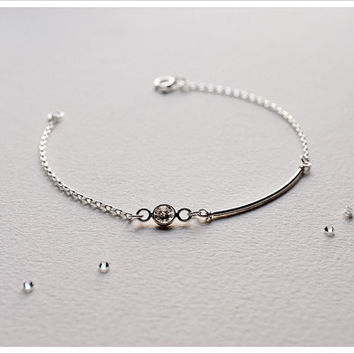 Skinny Bar Bracelet - Sterling Silver - Diamond CZ bracelet - Valentines Day jewelry - Simple Minimalist Everyday Jewelry LITTIONARY