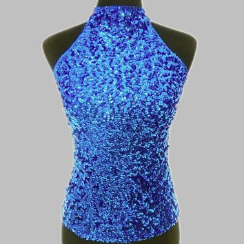 2017 sale women's tank top,Fashion new slim sequins halter neck Women's Shimmer Flashy All Sequins Embellished Sparkle Vest