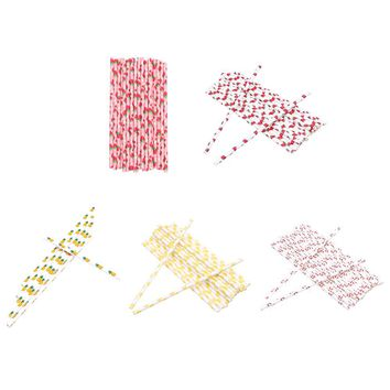 25Pcs Disposable Paper Straw Fruit Pineapple Strawberry Drinking Straws for Birthday Wedding Decoration Party Supplies