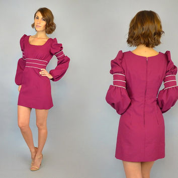 vintage 1960s BABYDOLL mod boho hippie berry poet sleeve MINI DRESS, small-medium