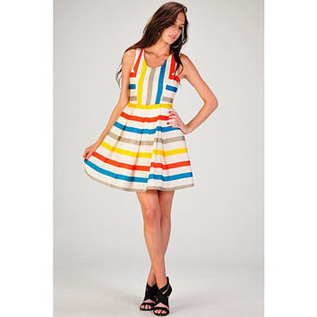 Minuet Rainbow Stripe Dress