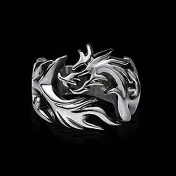 2018 New Arrival Fashion Jewelry Stainless Steel Solid Inside Dragon Rings Men Biker Ring