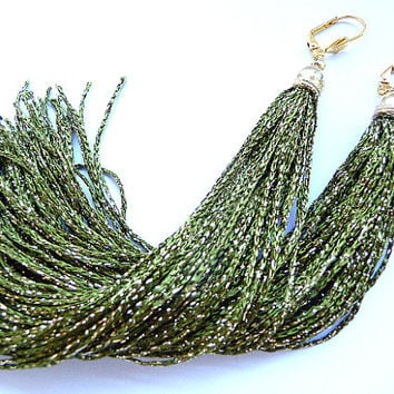 Tassel Earrings, Long Tassel Earrings, Fringe Earrings, Green earrings, olive green earrings, short tassels, long tassels, green gold