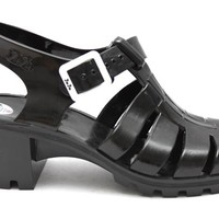 BLACK JuJu Babe 80s Jelly Sandals at Mr Shoes UK