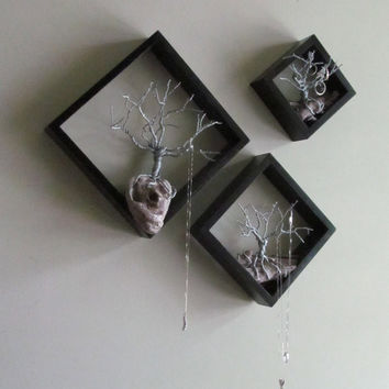 Black Set of 3 Geometric Framed Hanging Wire Trees, Jewelry Display, Geometric Diamond Tree Sculpture, Wire Tree, Driftwood Art