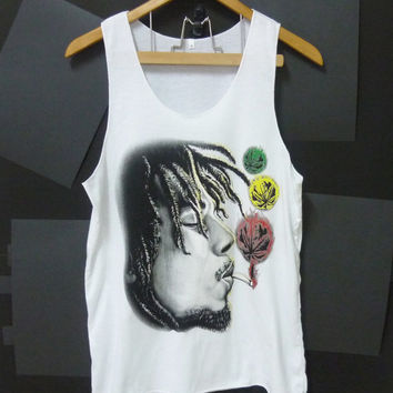 Bob Marley smoke face retro singer ska raggae photo printed White Ladies women teen Tank top size S singlet crop top shirt blouse