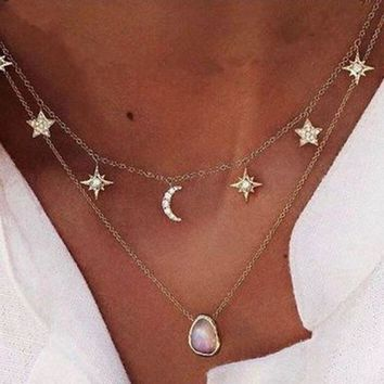 Moon and star choker necklace Moon necklace Collar Necklace for women Female Jewelry Gift for her sister friend girlfriend