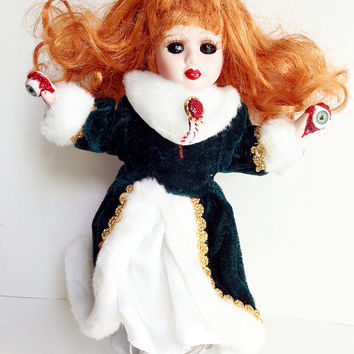 Creepy Doll, Lucinda the Wrathful, Scary Demon, Possessed Doll, Halloween Prop, Haunted Doll, Halloween Decor, Horror Figure, Spooky Toy