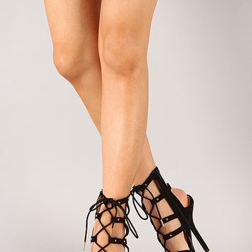 Wild Diva Lounge Cecily-11 Open Toe Lace Up Stiletto Heel