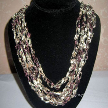 ON SALE Crochet Necklace Mauve Taupe Brown Handmade Chain Necklace Trellis Ribbon Ladder Yarn Handmade Jewelry