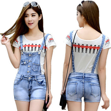 Casual Denim Jumpsuit Worksuit Women Shorts Jeans Overalls For Women Denim Romper Spaghetti Strap Female Jumpsuit Suspenders