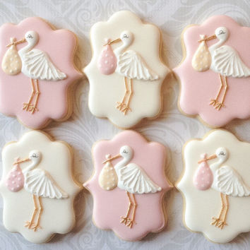 Elegant Plaque Stork Baby Shower Cookies - One Dozen  Decorated Sugar Cookies