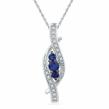 10kt White Gold Women's Round Lab-Created Blue Sapphire 3-stone Diamond-accent Pendant 1-20 Cttw - FREE Shipping (US/CAN)