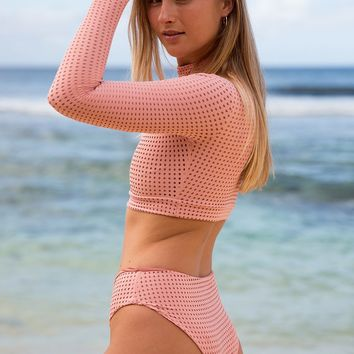 ACACIA Swimwear 2019 G-Land Mesh Bottom in Pink Lemonade