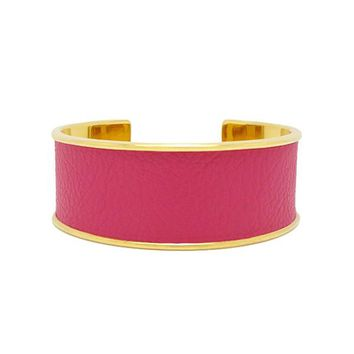 Hot Pink Pearlized Cobra Embossed Leather Bracelet Cuff Wide