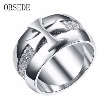 l Cross Ring for Men Silver Color Stainless Steel