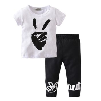 Summer cute Baby Boy Clothes Cotton print white t-Shirts +black Pants 2 Pcs Sets Toddler Baby girl Outfits Newborn Clothing Sets