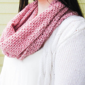Rose knitted infinity scarf, women winter cowl scarf, circle scarf, winter accessories, women clothing, teen clothing, handmade
