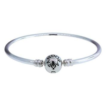 PANDORA Sterling Silver Bangle with Bead Clasp, 7.5-Inch