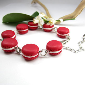 Red French Macaron Bracelet - Food Jewelry