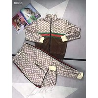 """""""Gucci"""" Woman's Leisure Fashion Letter Personality Printing Zipper Spell Color Long Sleeve Tops Trousers Two-Piece Set Casual Wear"""