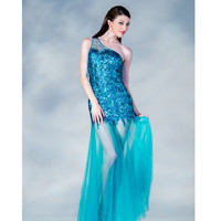 2013 Prom Dresses- Blue Sequin One Shoulder Tulle Prom Dress - Unique Vintage - Prom dresses, retro dresses, retro swimsuits.