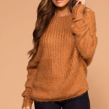 Laurel Rust Off The Shoulder Knit Sweater
