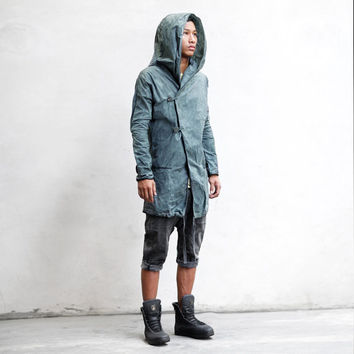 SPATE JACKET - Gray Green Men's Trenchcoat - Hand Dyed Beeswax Canvas Hoody - Designer Spencer Hansen for Heathen Clothing