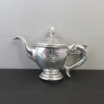 Silver Tone Teapot Brooch, Vintage Scrolled Tea Kettle Pin, FREE SHIPPING