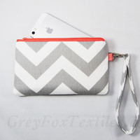 Chevron wristlet in gray and coral, peach clutch, iPhone sleeve, smartphone wallet, camera case