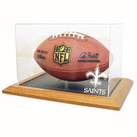 New Orleans Saints NFL Football Display Case (Wood Base)