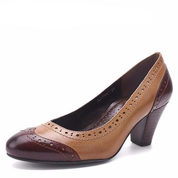 Women's Genuine Leather Round Toe Office Shoes