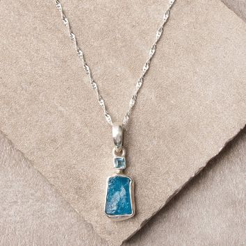 Blue Apatite Pendant Necklace