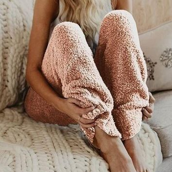 Pink High Waisted Faux Fur Oversize Loose Casual Pants
