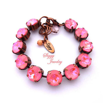 Ultra Pink Coral Swarovski Crystal Bracelet, Bright Bubble Gum Pink, 48ss Large 11mm Crystals, Chunky Arm Candy, Pick Your Finish