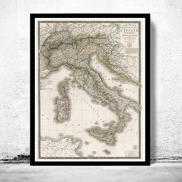Old Map of Italy 1836, Europe Antique Mediterranean Sea
