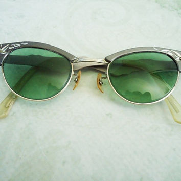 Fifties Cateye Sunglasses - Vintage Etched Aluminum Framed Eyewear