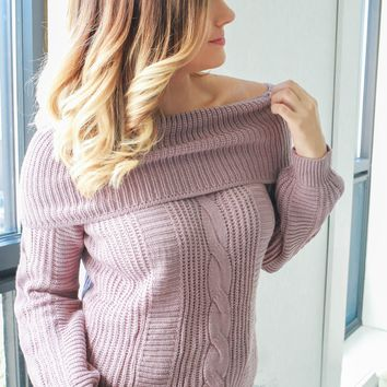 Falling For You Sweater- Mauve