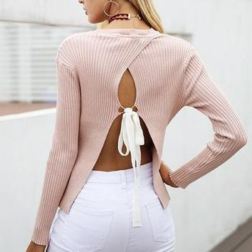Backless Bow Sweater