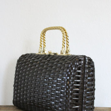 1950s chocolate brown basket purse