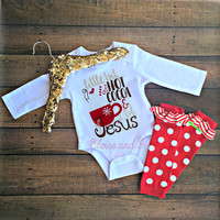 christmas outfits, first christmas, holiday clothes, hot cocoa and jesus, holiday bodysuit, newborn baby girl outfit, toddler boy shirt