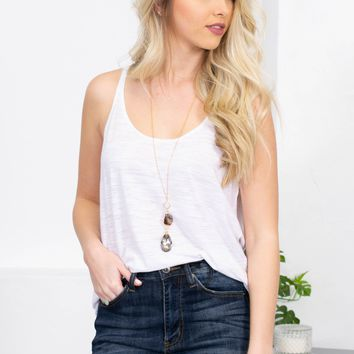 Horizon Sheer Tank Top | White