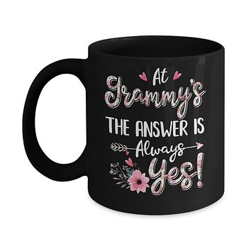 At Grammy's The Answer Is Always Yes Floral Mothers Day Gift Mug