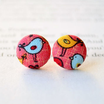 Sweet Little Fabric Bird Button Earrings, Tiny Bird Earrings, Fabric Button Earrings, Button Earrings