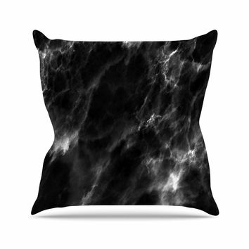 "Chelsea Victoria ""Black Marble"" Modern White Outdoor Throw Pillow"